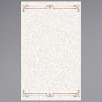 8 1/2 inch x 14 inch Menu Paper - Tan Swirl Border - 100/Pack