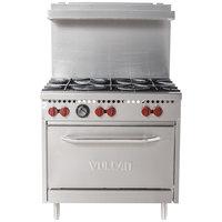 Vulcan SX36-6BP SX Series Liquid Propane 6 Burner 36 inch Range with Standard Oven - 198,000 BTU