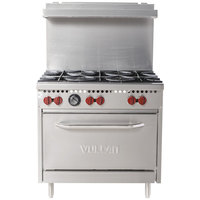 Vulcan SX36-6BN SX Series Natural Gas 6 Burner 36 inch Range with Standard Oven - 198,000 BTU