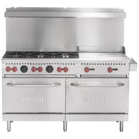 Vulcan SX60F-6B24GP SX Series Liquid Propane 6 Burner 60 inch Range with 24 inch Manual Griddle with 2 Standard Ovens - 258,000 BTU