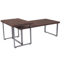 Flash Furniture NAN-JH-1730-GG Roslindale 2-Piece Rectangular Rustic Wood Finish Coffee Table with Silver Metal Legs