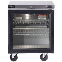 Delfield GUR32P-G 32 inch Glass Door ADA Height Undercounter Refrigerator with 3 inch Casters