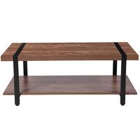 Flash Furniture NAN-JH-1727-GG Beacon Hill 45 1/4 inch x 21 1/2 inch x 17 1/2 inch Rectangular Rustic Wood Grain Finish Coffee Table with Black Metal Legs