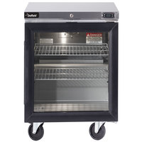Delfield GUR24P-G 24 inch Glass Door ADA Height Undercounter Refrigerator with 3 inch Casters