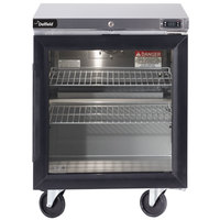 Delfield GUR27P-G 27 inch Glass Door ADA Height Undercounter Refrigerator with 3 inch Casters