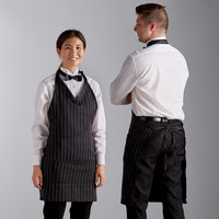 Choice Pinstripe Adjustable Poly-Cotton Tuxedo Apron with 2 Pockets - 32 inchL x 29 inchW