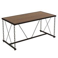 Flash Furniture NAN-JN21720CT-GG Vernon Hills 39 1/2 inch x 19 1/2 inch x 19 3/4 inch Rectangular Antique Wood Grain Finish Coffee Table with Black Metal Frame