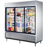True TSD-69G-LD Three Section Sliding Glass Door Reach In Refrigerator with LED Lighting - 69 Cu. Ft.