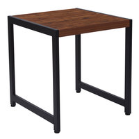 Flash Furniture NAN-JH-1746-GG Grove Hill 19 3/4 inch x 21 3/4 inch x 22 inch Rectangular Rustic Wood Grain Finish End Table with Black Metal Legs