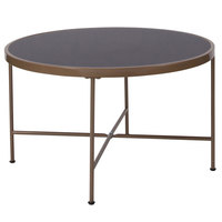 Flash Furniture NAN-JN-21751CT-GG Chelsea 29 1/2 inch x 17 1/2 inch Round Black Glass Coffee Table with Matte Gold Metal Legs