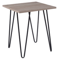 Flash Furniture NAN-JH-1703-GG Oak Park 19 inch x 19 inch x 22 inch Square Driftwood Wood Grain Finish End Table with Black Metal Legs