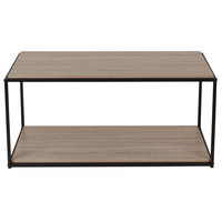 Flash Furniture NAN-JN-21744CT-GG Midtown 39 1/2 inch x 19 1/2 inch x 18 1/2 inch Rectangular Sonoma Oak Wood Grain Finish Coffee Table with Black Metal Frame