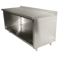 Advance Tabco EF-SS-245 24 inch x 60 inch 14 Gauge Open Front Cabinet Base Work Table with 1 1/2 inch Backsplash