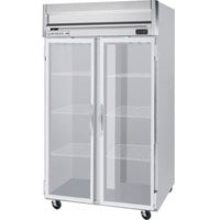 Beverage Air HRP2-1G-LED 2 Section Glass Door Reach-In Refrigerator - 49 cu. ft., SS Exterior