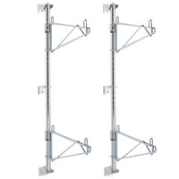 Metro SW53C Super Erecta Chrome Double Level Post-Type Wall Mount End Unit for 24 inch Deep Shelf - 2/Pack