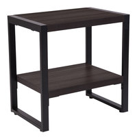 Flash Furniture NAN-JH-1733-GG Thompson 23 1/2 inch x 15 3/4 inch x 24 inch Rectangular Charcoal Wood Grain Finish End Table with Black Metal Legs