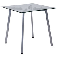 Flash Furniture NAN-JH-1721ET-GG Roxbury 23 3/4 inch x 23 3/4 inch x 23 3/4 inch Square Clear Glass End Table with Silver Metal Legs
