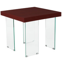 Flash Furniture NAN-JH-1754-GG Forest Hills 23 inch x 23 inch x 20 1/4 inch Square Red Cherry Wood Grain Finish End Table with Clear Glass Legs