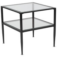 Flash Furniture HG-160913-GG Newport 19 3/4 inch x 19 3/4 inch x 19 3/4 inch Glass End Table with Black Metal Frame