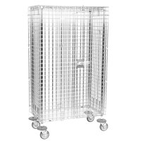 Metro SEC33EC Chrome Mobile Standard Duty Wire Security Cabinet 40 3/4 inch x 21 1/2 inch x 68 1/2 inch