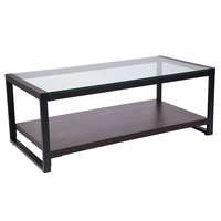 Flash Furniture NAN-JH-1735-GG Rosedale 47 1/4 inch x 23 1/2 inch x 18 inch Rectangular Clear Glass Coffee Table with Black Metal Legs