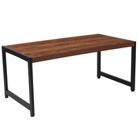 Flash Furniture NAN-JH-1745-GG Grove Hill 41 3/4 inch x 21 3/4 inch x 18 1/2 inch Rectangular Rustic Wood Grain Finish Coffee Table with Black Metal Legs