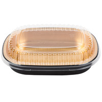 Durable Packaging 9331-PT-100 Small Black and Gold Black Diamond Foil Entree / Take Out Pan with Dome Lid   - 100/Case