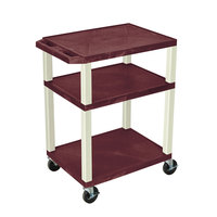 Luxor WT34BYE Burgundy Tuffy AV Cart - 3 Shelf, 24 inch x 18 inch x 34 inch