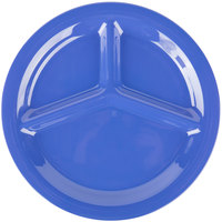 Carlisle 3300014 Sierrus 10 1/2 inch Ocean Blue 3 Compartment Narrow Rim Melamine Plate - 12/Case