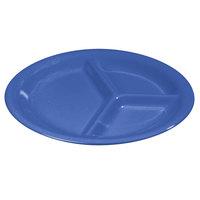 Carlisle 3300014 Sierrus 10 1/2 inch Ocean Blue 3 Compartment Narrow Rim Melamine Plate - 12/Case