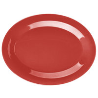 GET OP-950-CR Cranberry Diamond Harvest 9 3/4 inch x 7 1/4 inch Oval Platter - 24/Case