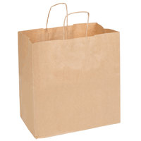 Duro Royal Natural Kraft Paper Shopping Bag with Handles 14 inch x 8 inch x 14 3/4 inch - 200/Bundle