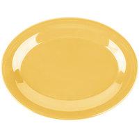 Carlisle 3308622 Sierrus 9 1/2 inch x 7 1/4 inch Honey Yellow Oval Melamine Platter - 24/Case