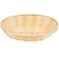 9 inch x 7 1/4 inch x 2 3/4 inch Oval Natural-Colored Rattan Basket   - 12/Case