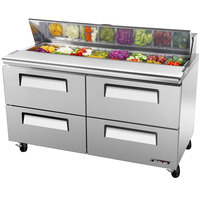 Turbo Air TST-60SD-D4 60 inch Super Deluxe Stainless Steel Refrigerated Salad / Sandwich Prep Table - Four Drawers