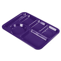 Carlisle 4398087 10 inch x 14 inch Purple Heavy Weight Melamine Left Hand 6 Compartment Tray