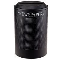 Rubbermaid FGDRR24PTBK Silhouettes Textured Black Round Designer Recycling Receptacle - Paper 26 Gallon