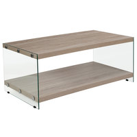 Flash Furniture NAN-JN-2626CT-N-GG Weston 43 1/4 inch x 23 3/4 inch x 17 3/4 inch Rectangular Natural Wood Grain Coffee Table with Clear Glass Legs
