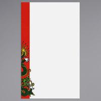 8 1/2 inch x 14 inch Menu Paper - Asian Themed Dragon Design Left Insert - 100/Pack