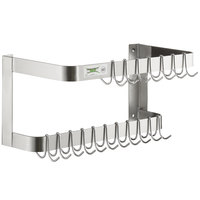 Regency 24 inch Stainless Steel Wall Mounted Double Line Pot Rack with 18 Galvanized Double Prong Hooks