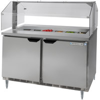 Beverage Air SPE48-12-SNZ 48 inch Mega Top Refrigerated Salad / Sandwich Prep Table with Condiment Station Sneeze Guard