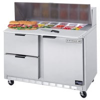 Beverage Air SPED48-12-2 48 inch Refrigerated Salad / Sandwich Prep Table with 1 Door, 2 Drawers
