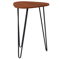 Flash Furniture NAN-JH-1729-GG Charlestown 17 1/2 inch x 17 1/2 inch x 25 inch Triangular Cherry Wood Grain Finish End Table with Black Metal Legs
