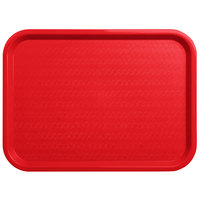 Carlisle CT121605 Customizable Cafe 12 inch x 16 inch Red Standard Plastic Fast Food Tray - 24/Case