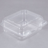 Durable Packaging PXT-895 Tall 8 inch x 8 inch x 3 1/2 inch One-Compartment Clear Hinged Plastic Take Out Container   - 125/Pack