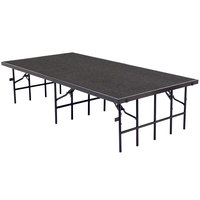 National Public Seating S488C Single Height Portable Stage with Gray Carpet - 48 inch x 96 inch x 8 inch