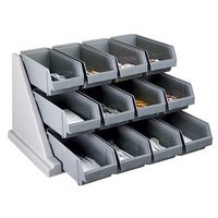 Cambro 12RS12480 Versa Speckled Gray Self Serve 3-Tier Condiment Stand with 12 inch Bins