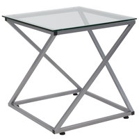 Flash Furniture NAN-JH-1737-GG Park Avenue 21 inch x 21 inch x 21 3/4 inch Square Clear Glass End Table with Z-Shaped Silver Metal Frame
