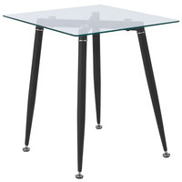 Flash Furniture HG-160309B-GG Chestnut 19 1/2 inch x 19 1/2 inch x 22 inch Glass End Table with Sleek Matte Black Metal Legs