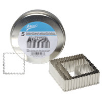 Ateco 5203 5-Piece Stainless Steel Fluted Square Cutter Set (August Thomsen)